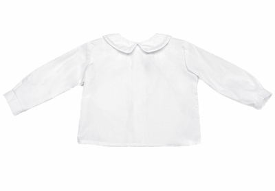 Funtasia Too Little Boys White Dress Shirts with Collar and White Piping - Long Sleeves