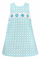 Girls Turquoise / White Dots Smocked Sea Shells Sleeveless Dress - Exclusively at The Best Dressed Child
