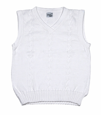 Glorimont Boys Dressy White Cable Knit V-Neck Sweater Vest
