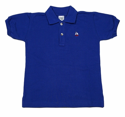 Glorimont Boys Blue Embroidery Sailboat Polo Shirt