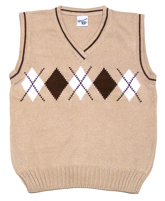 Glorimont Boys Tan V-Neck Sweater Vest with Brown Argyles