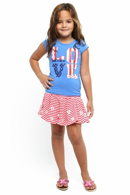 Haven Girl Baby Girls Patriotic Love Blue Shirt with Red Striped Skort