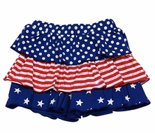 Haven Girl Patriotic Ruffle Shorts - Red White & Blue Ruffles