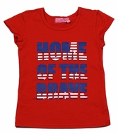 Haven Girl Patriotic Shirt - Red Home of the Brave