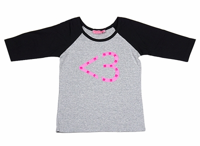 Haven Girl Valentine's Day Shirt - Pink Heart Text Symbol on Gray Shirt with Black Sleeves