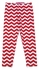 Haven Girls Chevron Striped Leggings - White & Christmas Red