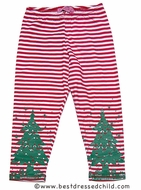 Haven Girls Novelty Leggings - Red Stripes with Green Christmas Tree