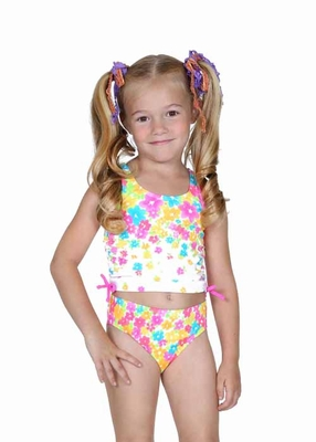 47aa0f3517 Hula Star Girls Flower Shower Pink Floral Tankini Two Piece Swimsuit