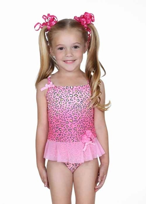 Hula Star Pink Spotted Leopard Tulle Skirted One Piece