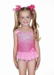 0e62574a771 Hula Star Girls Pink Spotted Leopard One Piece Tulle Skirted Swimsuit