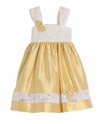 Isobella & Chloe Baby / Toddler Girls Empire Lace Silk Dress - Yellow Gold