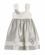 Isobella & Chloe Baby / Toddler Girls Empire Lace Silk Dress - Silver