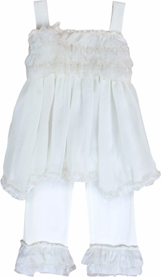 Isobella & Chloe Girls Cream & Sugar Ivory Pants Set