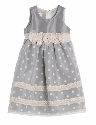 Isobella & Chloe Girls Gray Lace Sweet Tea Dress