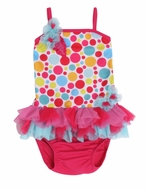 Isobella & Chloe Girls Gumball Drop Bright Dots Tulle Skirted One Piece Swimsut