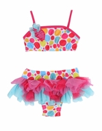 Isobella & Chloe Girls Gumball Drop Bright Dots Tulle Skirted Swimsuit - Two Piece