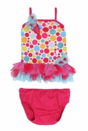 Isobella & Chloe Girls Gumball Drop Bright Dots Tulle Skirted Tankini Swimsuit