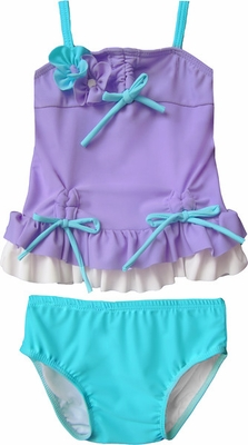 Isobella & Chloe Girls Lilac Purple / Aqua Blue Arielle Tankini Swimsuit - Two Piece