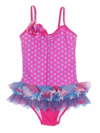 Isobella & Chloe Girls Magenta Candilicious Dots Tulle Skirted One Piece Swimsuit