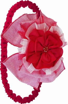 Isobella & Chloe Girls Red Cherry Pie Flower Headband - Elastic