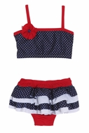 Isobella & Chloe Girls Red / White / Navy Blue Liberty Bell Patriotic Ruffled Two Piece Swimsuit