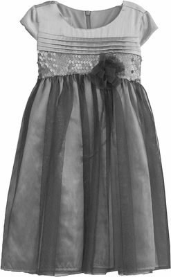 Isobella & Chloe Girls Silver Shimmer Holiday Party Dresses