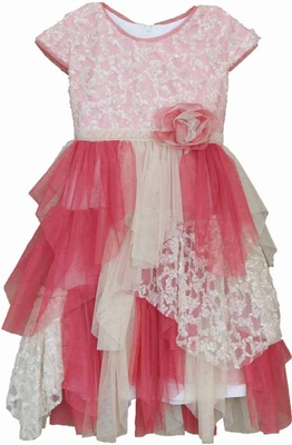 Isobella & Chloe Girls Strawberry Pink / Ivory Lace and Tulle Parfait Delight Dress