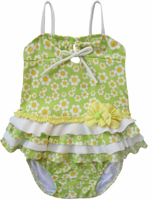 Isobella & Chole Ciao Bella Baby / Toddler Girls Lime Green Cordelia Two Piece Tankini Swimsuit