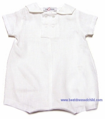 Jack and Teddy Infant Baby Boys White Linen Sailor Suit Romper