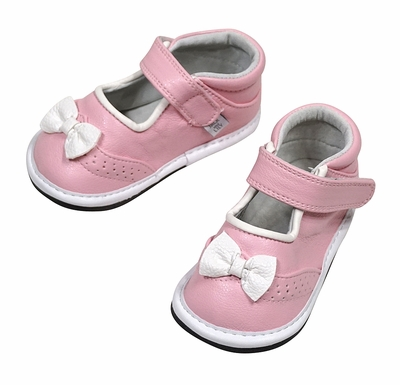 Jack & Lily Baby / Toddler Girls Shoes - Kelly Brogue Bow - Pink with White Bows