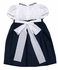 Jack & Teddy Girls Navy Blue Linen / White Dotted Swiss Dress with Collar & Sash