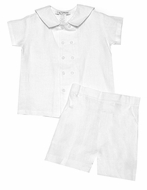Jack & Teddy Infant / Toddler Boys Dressy Double Breasted Sailor Suit Shorts Set - White Linen