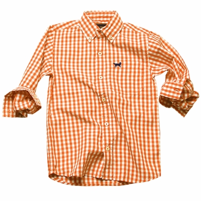 Jack Thomas Boys Gingham Button Down Dress Shirt Orange