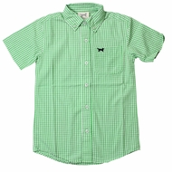 Jack Thomas Boys Gingham Button Down Shirt - Mtn. Grass Green - Short Sleeves