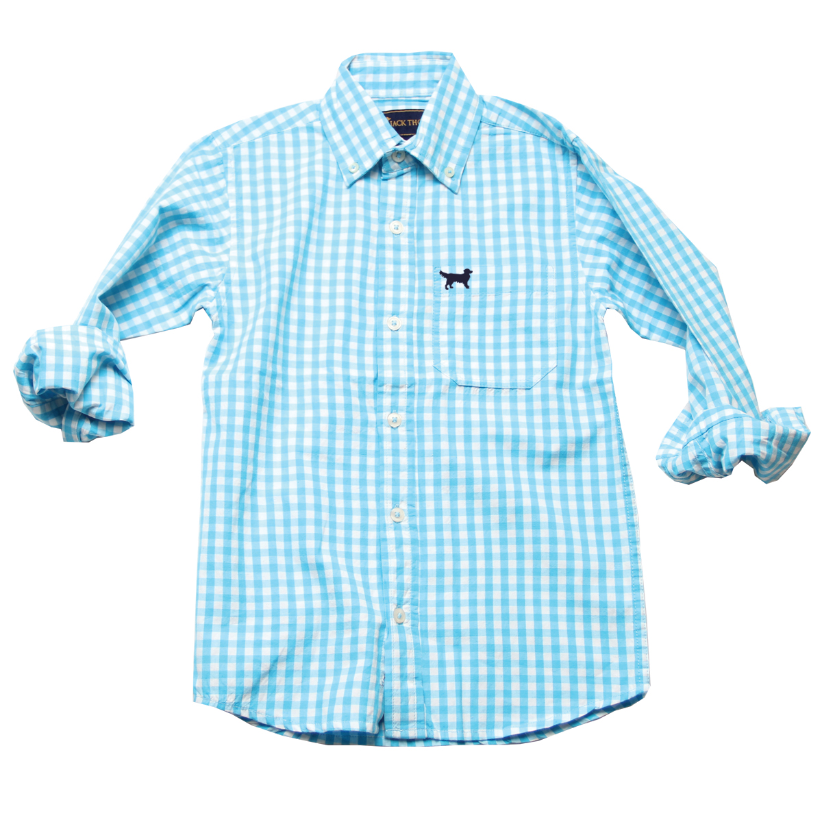 Jack Thomas Boys Long Sleeved Aqua Gingham Dress Shirt