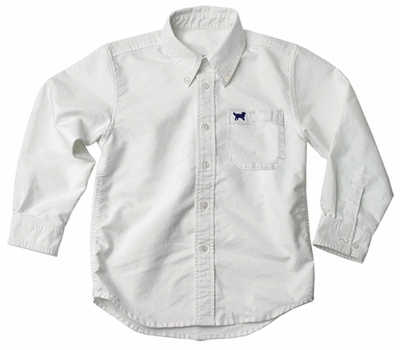 Jack Thomas Boys Long Sleeved Dress Shirt - Oxford White - Dog on Pocket