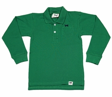 Jack Thomas Boys Long Sleeved Pique Polo Shirt - Kelly Green