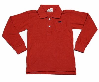 Jack Thomas Boys Long Sleeved Pique Polo Shirt - Nantucket Red
