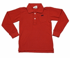 Jack Thomas Boys Pique Polo Shirt - Nantucket Red - Long Sleeves