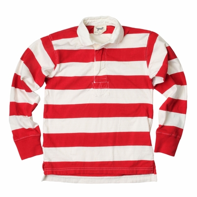 Jack Thomas Boys Striped Rugby Shirt - Cherry Red / White Candy Cane Stripes