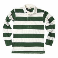 Jack Thomas Boys Striped Rugby Shirt - Hunter Green / White Stripes