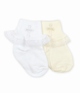 Jefferies Christening Cross Socks for Baby Girls - White or Ivory - with Lace