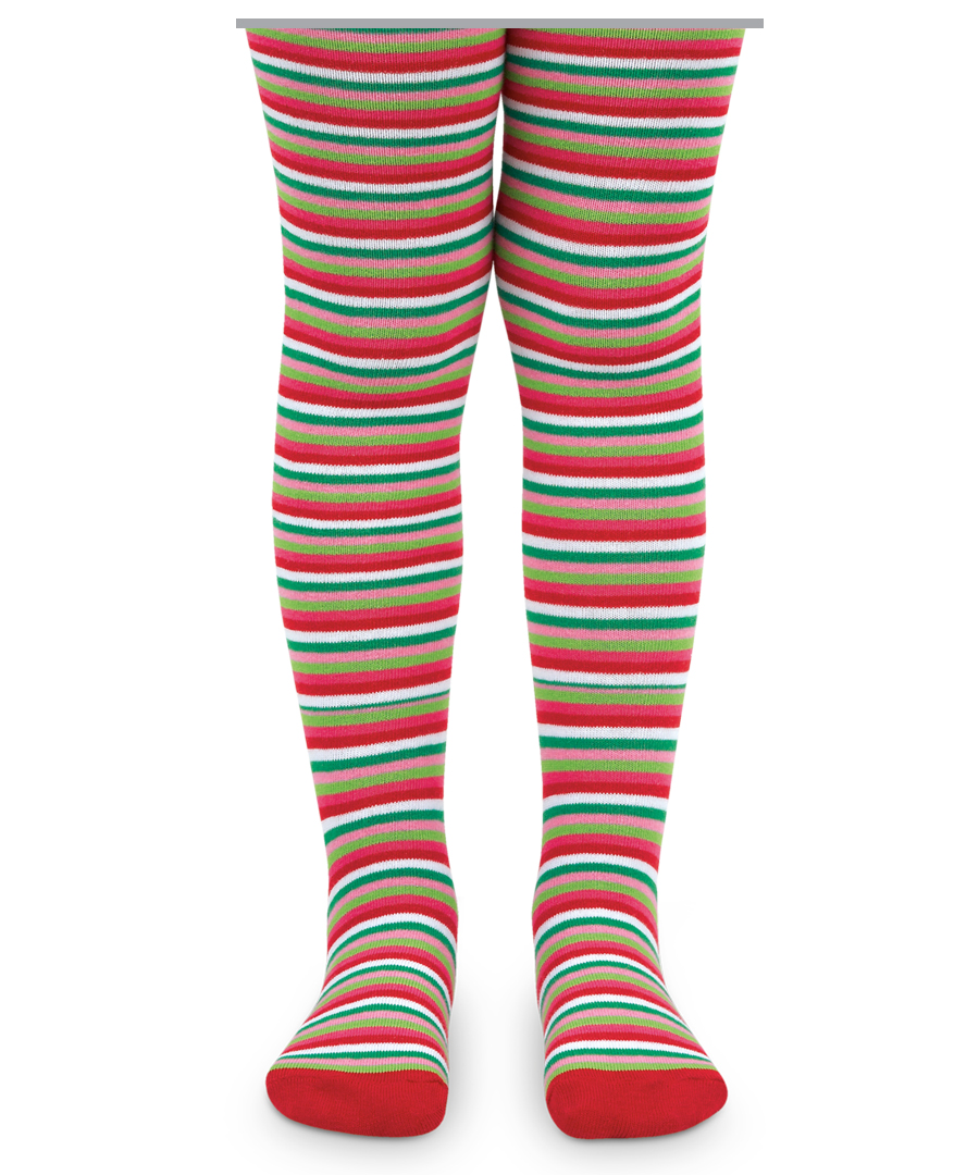 Jefferies Socks Girls Christmas Holiday Striped Tights - Green ...