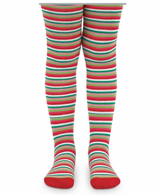 Jefferies Socks Girls Christmas Holiday Striped Tights - Green / Red / Pink