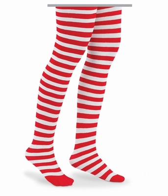 Socks Girls Red / White Striped Tights for Christmas - Candy Cane