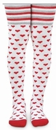 Jefferies Socks Girls Tights - Stripes & Valentines Hearts - Red