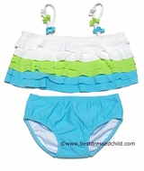 Kate Mack Baby / Toddler Girls Aqua Blue / Lime Green Wave Dancer Two Piece Swimwear