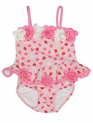 Kate Mack Baby / Toddler Girls Be Mine Pink Hearts Print Two Piece Swimsuit