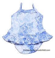 Kate Mack Baby / Toddler Girls Blue Damask Coney Island Swimsuit - Long Top with Panty