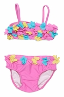 Kate Mack Baby / Toddler Girls Hula Flowers Pink Bikini with Petals